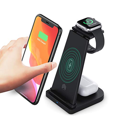 Wireless Charger, 3 in 1 Wireless Charging Station for iPhone 12/11pro/SE/Xs AirPods 2/Pro,Wireless Charging Stand for iphone Samsung S20 (Black)