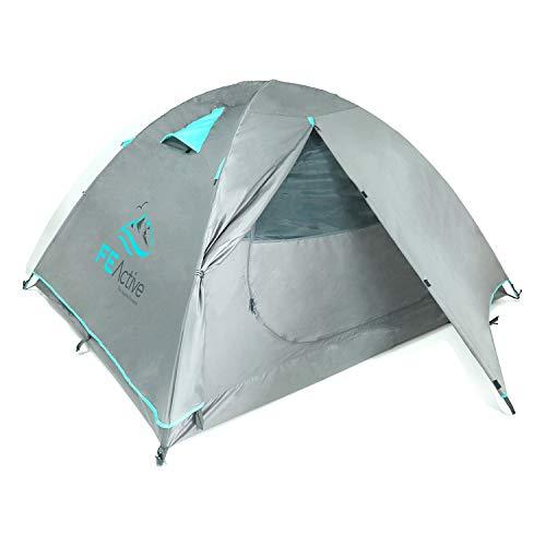 FE Active Zelt für 4 Personen - Vollständig Wasserdicht, Eingehakten Aluminiumstangen, Doppellagigem Anti-Rip Material für 3 - 4 Jahreszeiten, Camping Rucksackreisen Wandern | Entworfen in Kalifornien