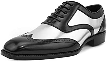 Bolano Lawson Men's Oxford Dress Shoes - Two Tone Metallic Tuxedo Formal Dress Shoes for Men - Designer Formal Wingtip Shoes with Lace Tie (Silver/12)