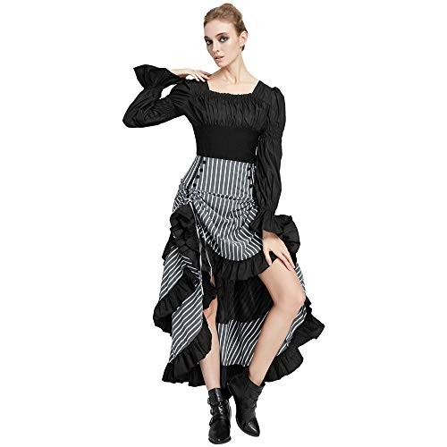 SCARLET DARKNESS Gothic Women's Shirt Long Sleeve Square Neck Boho Blouse Tops Black XXL steampunk buy now online
