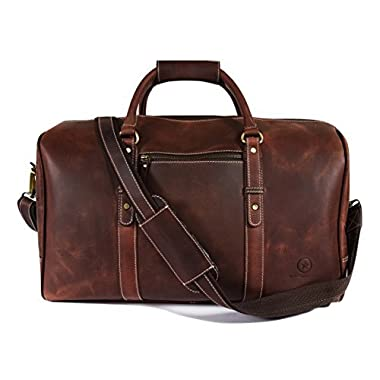 """20"""" Leather Travel Duffle Bag   Gym Sports, Overnight Weekend, Airplane Luggage Carry-On Bag By Aaron Leather (Dark Brown)"""