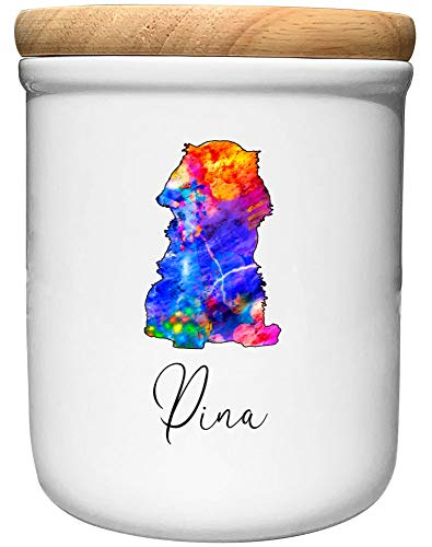 Cadouri Keramik Leckerli-Dose Cavalier King Charles Spaniel » personalisiert mit Name deines Hundes «┊Snackdose Keksdose Aufbewahrungsdose┊mit Holzdeckel