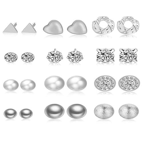 GOMYIE 12Pairs/Set Earrings Ornament Love Triangle Frosted Ball Crystal Stone Earrings For Women(Silver color)