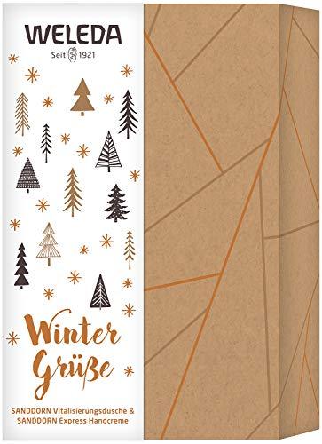 WELEDA Weihnachtsset Sanddorn 2020 - Naturkosmetik Weihnacht Geschenk Set bestehend aus Sanddorn Vitalisierungs-Dusche (200 ml) & Sanddorn Express Handcreme (50 ml) in hochwertiger Geschenk Box