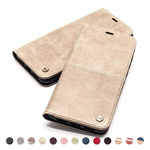 QIOTTI Hülle Kompatibel mit iPhone Se iPhone 5s iPhone 5 Ledertasche aus Hochwertigem Leder RFID NFC Schutz mit Kartenfach Standfunktion (Smart Sand)