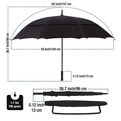 Procella Golf Regenschirm, 157 cm groß, sturmsicher, automatisch zu öffnen, Regen- und Windresistent Golfschirme(Black) - 4