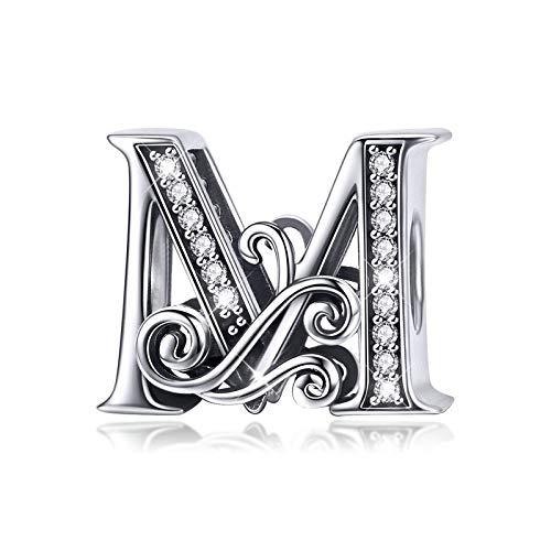 Abalorio de plata de ley 925, diseño de letra Q, para pulsera o collar medium