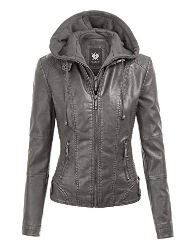 Lock and Love LL WJC1044 Womens Faux Leather Quilted Motorcycle Jacket with Hoodie XL Grey