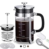 French Press Coffee Maker (34 oz) with 4 Filters - 304 Durable Stainless Steel,Heat Resistant Borosilicate Glass Coffee Pot Percolator, BPA Free, Silver