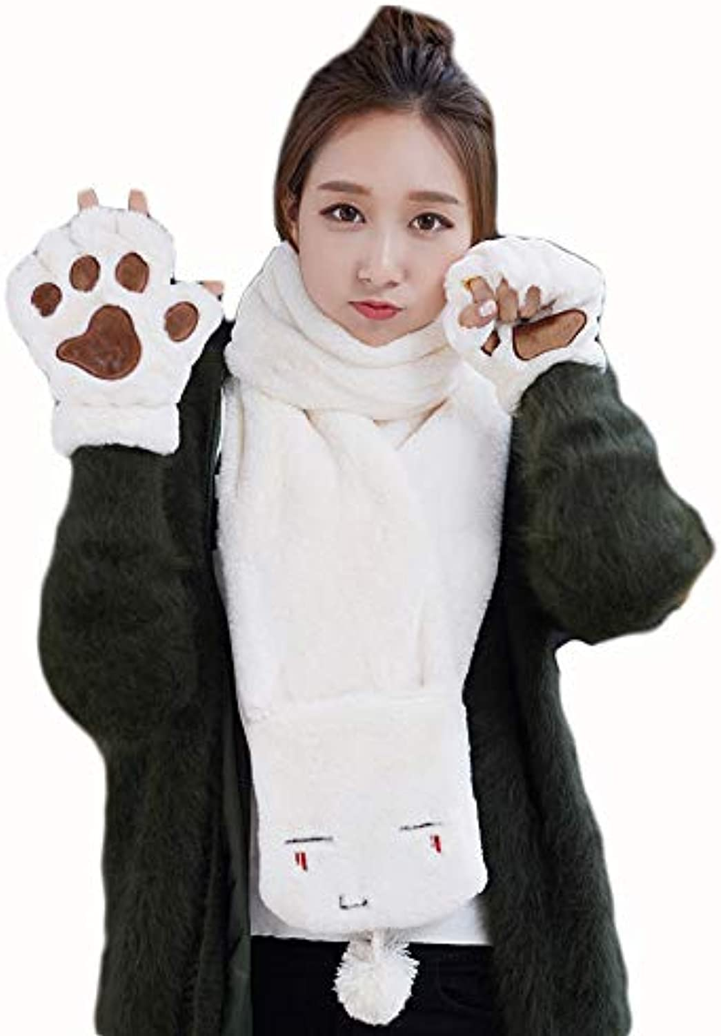 JUN Women's Cute Scarf Korean Version of The Trend Students Winter Thick Rabbit Fur Comfortable Scarf