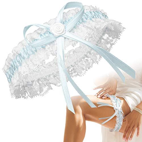 BrautStyle® Deluxe Braut Strumpfband in Blau für Hochzeit in Einheitsgröße, Band verziert mit Schleife, Spitze und einem edlen Herz aus filigranen Strass-Steinen, 100% Handgefertigt (Blau Weiß)
