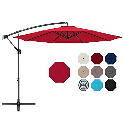 Best Choice Products 10ft Offset Hanging Market Patio Umbrella w/Easy Tilt Adjustment, Polyester Shade, 8 Ribs for Backyard, Poolside, Lawn and Garden - Red