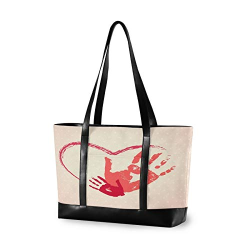 Red Heart With Handprints Canvas Laptop Tote Bag for Women, Multifunctional Work Travel Shopping Duffel Carrying Shoulder Handbag Compatible for 14 inch to 15.6 inch Laptop Bag