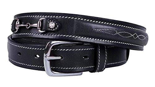 Equipride QHP Ledergürtel Ricki für Wettkampf mit Pferdegebiss schwarz/braun 65 bis 95 cm, Schwarz, 95 cm