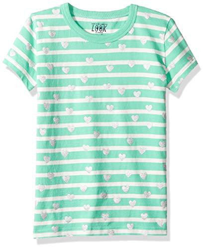 LOOK by Crewcuts - Camiseta de manga corta para niñas con rayas y corazones, Verde/plateado, 8
