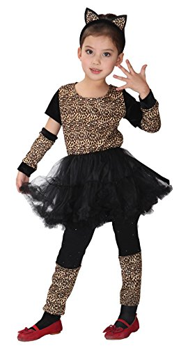 Lukis Mädchen Leopard Kostüme Karneval Tierkostüme Outfit Set Halloween Braun Körpergröße 110-120cm