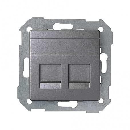 Simon 8200006-096 - Placa v&d univ. plana c/g polvo para 2 RJ45