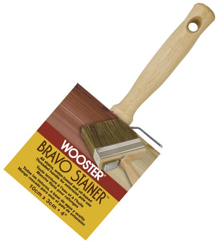Wooster Brush Available F5119-4 Bravo Stainer Bristle/Polyester Stain Brush, 4 Inch, 4-Inch