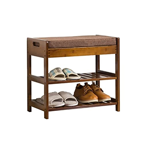 Home Equipment Storage Stool 2 Tiers Shoe Storage Bench With Seat Cushion Bamboo Ottoman Hallway Bench Dust proof Shoes Rack/Shoes Cabinet Wooden Shoe Stool Foot Stool Upholstered Footrest Bench Or