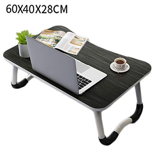 LLEH Escritorio para Laptop, Mesa Plegable para computadora portátil, Bandeja de Cama para Servir el Desayuno, con pies Antideslizantes, para Lectura de Trabajo de Estudio (Negro)
