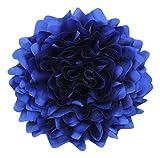 Cussi Flor Grande de Tela con Pinza 32 cm-Aplique, Tocado, decoración, DIY (Azul)