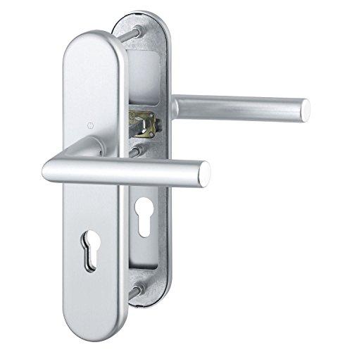HOPPE Haustür Eingangstür Drückergarnitur AMSTERDAM - DIN-Norm Entfernung 92mm, silber eloxiert, Langschild Profilzylinder für Türstärke 67-72mm, ohne Kernziehschutz, Prüfung: RC2 nach EN 1906, 1 Stück Sicherheitsbeschlag