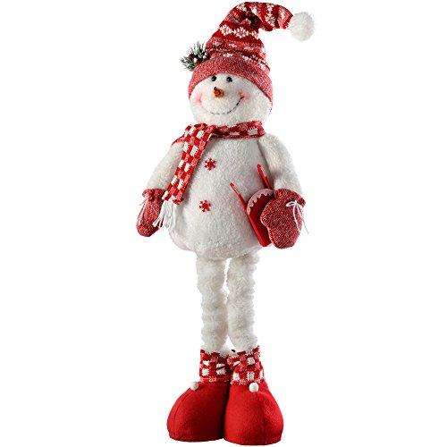 WeRChristmas–Decoración de Navidad muñeca de Nieve con piernas Extensibles, 46–71cm–Rojo/Blanco