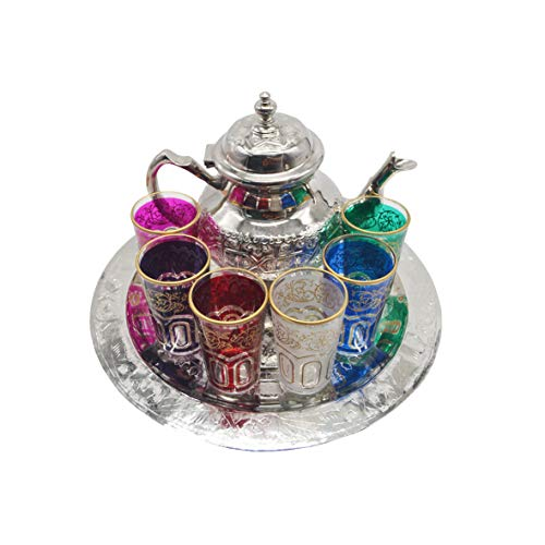 Juego de té marroquí, Tetera con Patas de Plata Alemana de 800 ml, Bandeja Plana 30 cm y 6 Vasos de Colores
