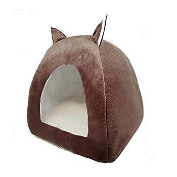 ZhiTianGroup Pliable Cat Bed Location Warming Maison d'intérieur avec Cat Amovible Matelas Puppy Cage Lounger Sofa nid de Chat (Color : Brown, Size : M 36CMx36CMx40CM)