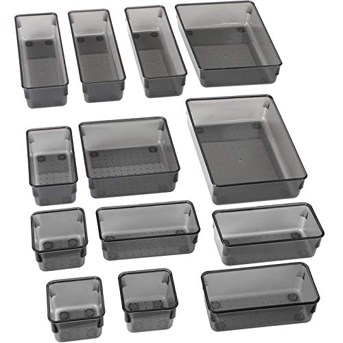 SMARTAKE 13-Piece Drawer Organizers with Non-Slip Silicone Pads 5-Size Desk Drawer Organizer Trays Storage Tray for Makeup Jewelries Utensils in Bedroom Dresser Office and Kitchen Light Black