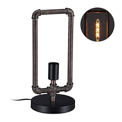Relaxdays, grau Wasserrohr Tischlampe, Industrial Stil, Rohrlampe Vintage, E27, HxD: 41x18 cm, Steampunk Leuchte, braun, Metall, Kunststoff