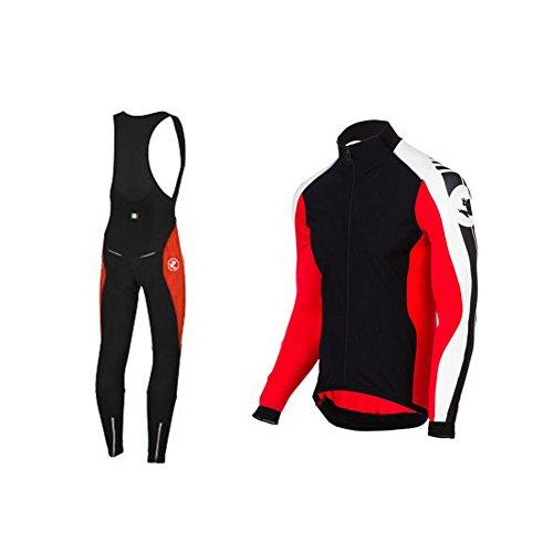 Uglyfrog Winter MTB Herren Fahrradbekleidung Set Langarm Atmungsaktiv Radtrikot Fahrrad Trikot (Radjacke Langarm und Fahrradhose mit 3D Sitzpolster) 27DELD02
