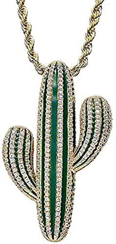 NC190 Collar, Collar, Collar, Brillante, Helado, Cactus, Colgante, Collar, Cadena de Hip-Hop para Hombres, Regalos con Encanto para Mujeres, Hombres, Collar de Regalo