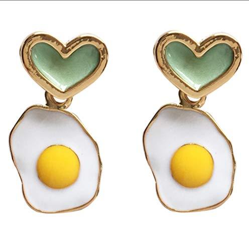 smyzll Precioso diseño de joyas Pendiente personalizado de huevo frito Pendientes de amor lindos para niñas jóvenes regalos de joyería para mujeres 1.4x2.6cm