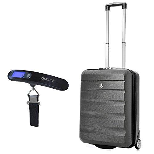 Aerolite Ryanair Maximale vergoeding Harde schaal Lichtgewicht handbagage Reiskoffer 2 wielen met bagageweegschaal Draagbare digitale weegschaal voor het wegen van koffers Tassen (houtskool)