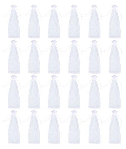 Juvale - 24Stück Organza-Beutel für Wein mit Kordelzug–zu verwenden als Geschenkverpackung oder für Dekoration im Schaufenster, bei Partys oder anderen Anlässen, 4Farben 37,3x 13cm weiß