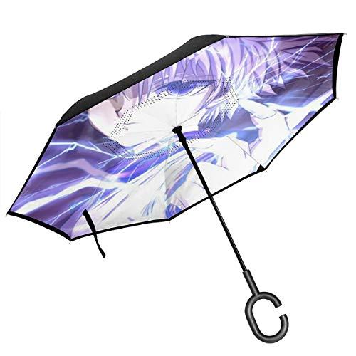 Hunter Regenschirm mit C-förmigem Griff, doppelschichtig, wasserfest, Winddicht, gerade, für Autos, Regen, Outdoor-Nutzung