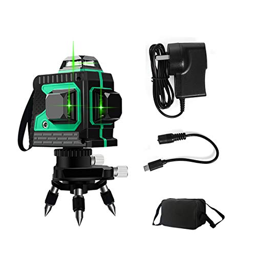 JIALILI Level leveling 25M, 3x360 ° line in Cross Green, Pulse Mode Levels Lines, Horizontal and Vertical Self-leveling 12 3D Lines, IP54 Waterproof