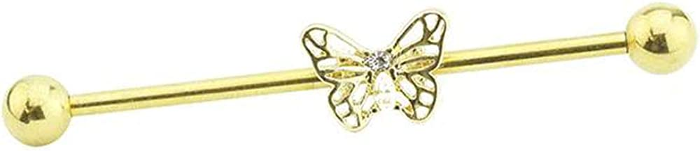 Dynamique Butterfly CZ Centered Gold Plated 316L Surgical Steel Industrial Barbell (Sold Per Piece)