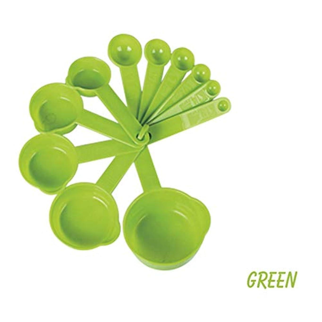 明確に資本電気技師HVTKLN 11pcs /計量スプーンはスプーンシリカスケールの取鍋を測定する一般的な測定ツールを焼く調理する創造的家庭の台所を設定しました HVTKLN (Color : Green, Size : 1/8-1)