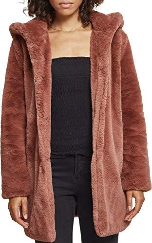 Urban Classics Ladies Hooded Teddy Coat, Farbe darkrose, Größe M