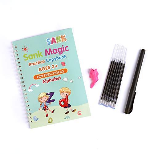 Sank Magic Practice Copybook for Kids - The Print Handwiriting Workbook-Reusable Writing Practice Book (Alphabet Book with Pen)