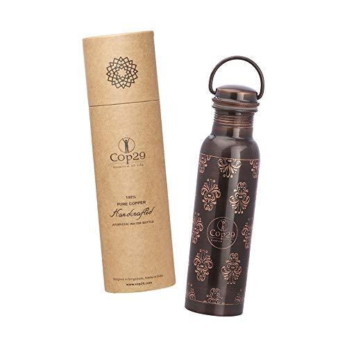 Cop29 Botella de Agua Antigua Mira de Cobre Puro grabada a Mano con asa y Beneficios para la Salud ayurvédica, 900 ml / 30 oz