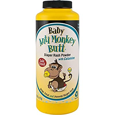 Anti Monkey Butt Baby Powder with Calamine - Prevents Diaper Rash and Absorbs Moisture - Talc Free - 6 Ounces - Pack of 1