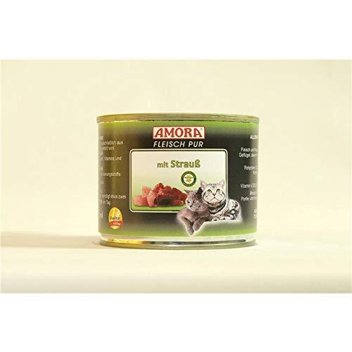 Amora Cat Fleisch pur mit Strauß | 6 x 200g Katzenfutter nass