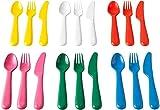 IKEA KALAS 804.213.32 - Cubertería de plástico (6 cuchillos, 6 tenedores, 6 cucharas, 3 años), multicolor