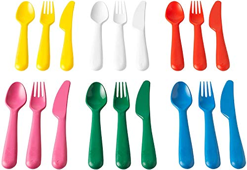 Ikea KALAS 804.213.32 Plastic Cutlery 6 x Knife 6 x Fork 6 x Spoon Age 3 Years plus Multicoloured