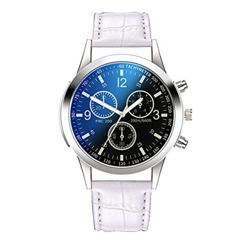 Asotagi Reloj para hombre de moda retro casual reloj de cuarzo clásico escala romana dial relojes de cuarzo para hombre relojes de pulsera, Cinturón de Cuero Negro Blanco, Code,