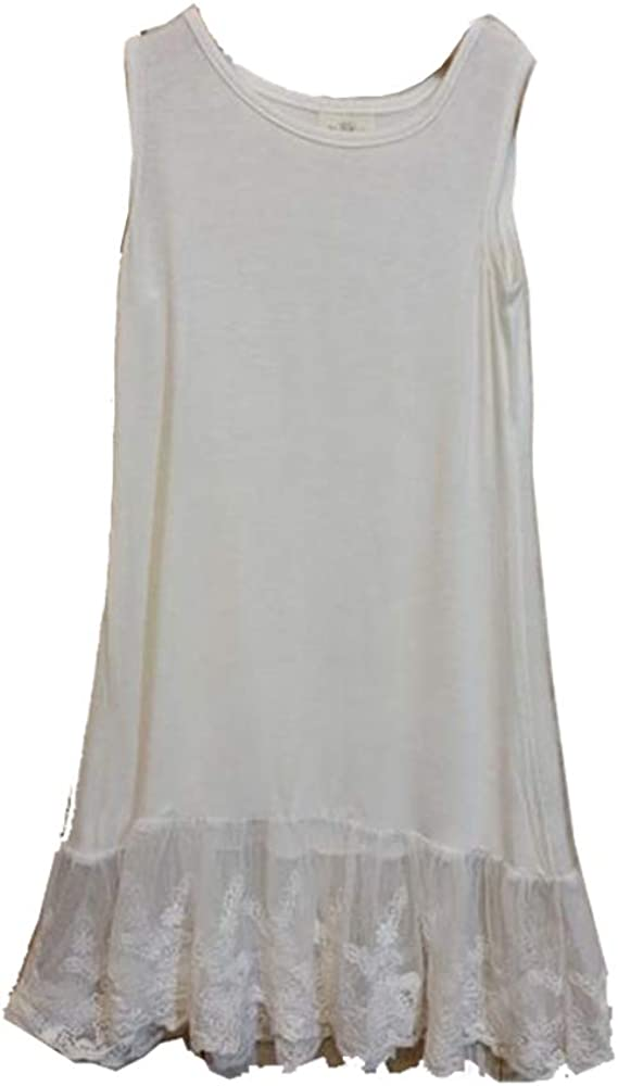 ML Fashions White Lace Hem Layering Dress