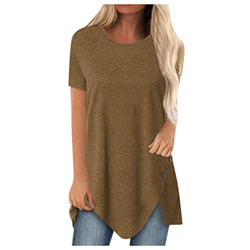 Why Should You Buy kaifongfu Plus Size Tunic Shirts for Women Loose Print Round Neck Short Sleeve Ir...